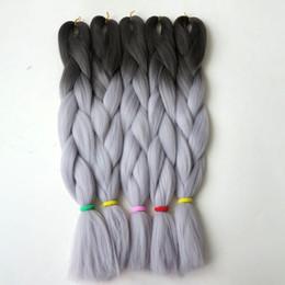 2020 extensiones de cabello gris oscuro Ombre Trenzado de cabello Kanekalon trenzas de ganchillo sintéticas twist 24inch 100g Dark GreyLight Grey Jumbo trenza extensiones de cabello extensiones de cabello gris oscuro baratos