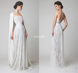 Wholesale Capes Cover Wedding Dress - Vintage Full Lace Sheath Wedding Dresses with Cloak Cape Illusion Neck Covered Button Sequin Sleeveless Boho 2017 Spring Arabic Bridal Gowns