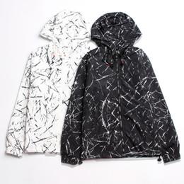 Wholesale Japanese Style Jackets - Wholesale- 2016 Japanese Assault Hooded Windbreaker Jacket Thin Sun Protection Clothing Men's Black White Ink Coat Hip Hop Style