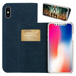 Wholesale Iphone Denim Wallet Case - LEEU DESIGN Denim Cloth Wallet Phone Cases with Card Slot Flip Mobile Phone Kickstand Case for Iphone x