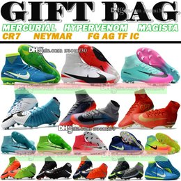Wholesale Soft Black Leather Boots - New Mercurial Superfly V AG FG CR7 Soccer Cleats Indoor Magista Obra II ACC Football Boots High Ankle Phantom JR Neymar Soccer Shoes Ronaldo
