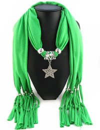 Wholesale Acrylic Star Pendants - Newest Cheap Fashion Women Scarf Direct Factory Jewelry Tassels Scarves Women Rhinestones Necklace Scarves With Big Star Pendant