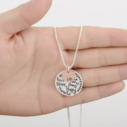 Wholesale Stainless Steel Jewelry Engraved - Fashion rose gold plated Pendant Necklace hand stamped Be Happy Necklace Cute coin Engraved necklace for women girl jewelry