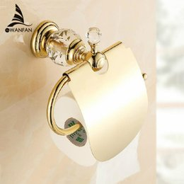 Wholesale Brass Toilet Tissue Holder - Luxury crystal brass gold paper box roll holder toilet gold paper holder tissue box Bathroom Accessories bath hardware HK-40k