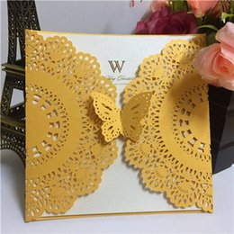 Wholesale Invitation Lace Red - 2016 HOT Elegant Western-Style Yellow Laser-Cut Lace Flower Pattern Customizable Printable Wedding Invitations Cards Shipping by UPS