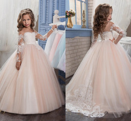 Wholesale Girls Green Gown - 2017 New Flower Girls Dresses For Weddings Jewel Neck Long Sleeves Lace Appliques Sweep Train Ball Gown Birthday Children Girl Pageant Gown