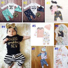 Wholesale Girl Leopard Kids - Baby boy girl INS letters stripe Suits Kids Toddler Infant Casual Short long sleeve T-shirt +trousers+hat 3pcs sets pajamas clothes B
