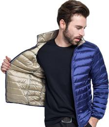Wholesale reversible down jacket - Wholesale- 2017 New Ultra Light Duck Down Jacket Men Feather Man Winter Double Side Reversible Parka Coats Plus Size