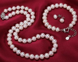 Wholesale South Sea Pearls White - Hot sell 9-10mm natural south seas white pearl necklace 19 inch 925 silver clasp free bracelet earrings