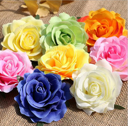 Wholesale Decoration Plastic Flowers - rose heads artificial flowers plastic fake flowers head high quality silk flowers wedding decoration wall free shipping WF008