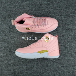 Wholesale Womens Leather Shoes Sale - Free shipping Air Retro 12 GS Pink Lemonade basketball shoes Womens retro 12s Pink Lemonade Sneakers For Sale Size 36-40