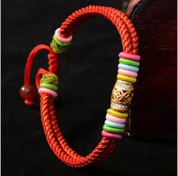 Wholesale Traditional Chinese Red Beads - Original ethnic design Hand woven handmade colorful knot red string silver bead lucky Chinese knot bracelet