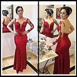 Wholesale Tulle Red Lace Fabric - New Arrival Mermaid Style Red Prom Dress Sequins Fabric Long Sleeve Women Cheap Evening Gowns 2016