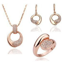 Wholesale China Wholesale High End Jewelry - Jewelry manufacturers selling 2016 new high-end luxury fashion rose gold necklace, Earrings and ring jewelry sets wholesale