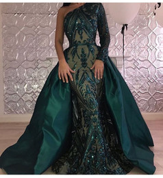 Wholesale Single Sleeve Illusion Prom - 2017 One-Shoulder Ball Gown Evening Dresses Illusion Single Shoulder Sleeve Sequins Floor Length Prom Gowns With A Big Overskirt