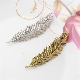 Wholesale American Headwear China - Retro Simple Head Jewelry Hairpin Gold Silver Leaf Clip Hair Tiara Accessories Headdress Girl Barrette Women Headwear