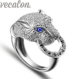 Wholesale Wedding Ring Heart Design - Vecalon fashion ring leopard Design Party ring for women Cz diamond 925 Sterling Silver Female Engagement Finger ring