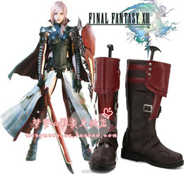 final boot Promo Codes - Wholesale-Lightning Returns: Final Fantasy XIII 13 Lightning Eclair Farron Cosplay Boots shoes shoe boot #NC225 anime Halloween Christmas
