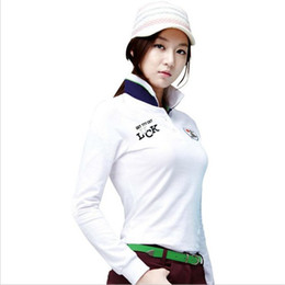 Wholesale Korean Polo Shirts - Korean Golf T Shirt Women Long Full Sleeves Fashions Spring and Autumn Women Polo Top Jerseys Quick Dry Outdoor Sport Golf T Shirts