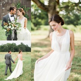 Wholesale Forest Weddings - 2017 Simple White Country Garden Wedding Dresses A Line Bohemian Chiffon Pleats Long Bridal Gowns Forest Fall Wedding Gowns Cheap