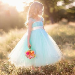 Wholesale Plus Size Christmas Tutu - Light Blue Tutu Floor Length With Spaghetti Straps Plus Size Cheap Flower Girl Dresses 2017 Kids Pageant Dresses Custom Made