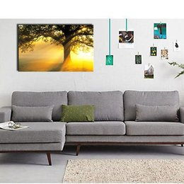 Wholesale Tree Pictures Decorative - 1 Picture Combination Stretched On Canvas Art Wall Sunset Under The Tree Decorative Oil Painting Callingraphy For Home Decor