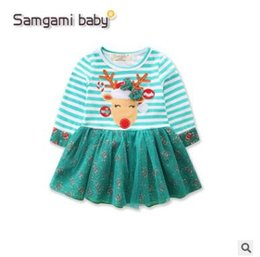 Wholesale Elk Dress - Christmas Dress for Baby Girl Long Sleeve Tulle Striped Elk TUTU Dress Princess Christmas Outfits Kids Clothes Xmas Baby Clothing 886