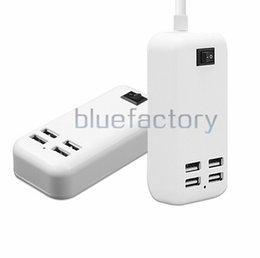 Wholesale Tablet Docks - 15W 4 Ports Desktop USB Charger 5V 3A 1.5m Cable Desktop Charger for iphone 7 Samsung S7 MP3 Smart Phone iPad Tablet PSP