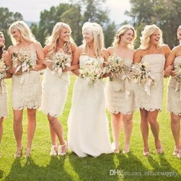 Wholesale Modest Champagne Bridesmaid Dresses - Modest Champagne Lace Bridesmaid Dresses Strapless Ribbon Short Wedding Party Dress Bride Maid of Honor Dress for Women