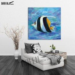 Óleo, pintura, mar on-line-Sea Fish Imagem Pintura A Óleo Moderna 100% Pintura A Mão Animal Quadrado Da Arte Da Parede de Lona de Óleo Acrílico Decoração de Casa Tamanho Grande