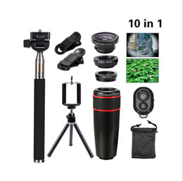 Wholesale Wide Angle Phone Lens - cell phone camera lens kit for iphone 10 in 1 telephoto lens 12X Fish Eye Wide Angle Macro Lens Selfie stick Mini Tripod