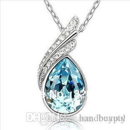 Wholesale Teardrop Costume Jewelry - Wholesale New Fashion costume crystal stone Jewelry Blue Austrian crystal rhinestone Teardrop Necklace for Women Ladies RJ1323A 0416dd