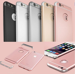 Wholesale Iphone Back Hard Logo - For Iphone 6S Rose Gold Case Luxury Removable 3 in 1 Hard Back Case For Iphone 5 5S Clear Logo Metal Armor Cover