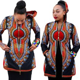 Wholesale Hooded Dresses For Women - Africa Totems Short Skirt Hooded Black Dashiki Jacket Maxi Beach Dress Long Sleeves Work Summer Woman For Womens Bodycon Dresses