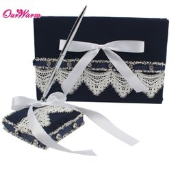 Wholesale Signature Books - Wedding Guest Book and Pen Set with Lace Ribbon Bowknot Navy Pen Stand Holder Guest Signature Book for Wedding Supplies <$16 no tracking