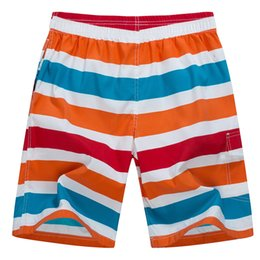 Wholesale Board Shorts Fabric - Wholesale-Stripped Printed Trunk Men 2016 Brand Summer Quick Dry Board Shorts Men Comfortable Breathable Soft Fabric With Lining