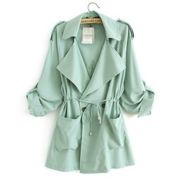 Wholesale Long Green Trench Coat - Wholesale-JAQ02 Fashion 2016 Autumn Winter elegant Double Breasted trench coat for women long coats Casual brand windbreaker female cloak