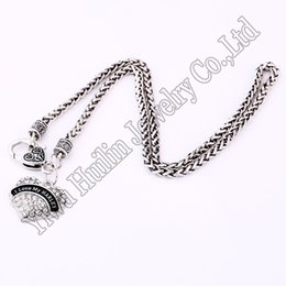 kleine babybilder Rabatt Drop Shipping New Arrival rhodium plated zinc studded with sparkling crystals I LOVE MY HARLEY heart pendant wheat chain necklace