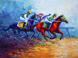 Wholesale Oil Painting Horses Racing - Giclee Animal horse racing oil painting arts and canvas wall decoration art Oil Painting on Canvas 60X90cm MRR200