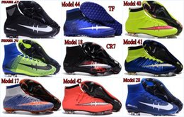 Wholesale Cr7 Mens Football Shoes - mens womens high ankle Football Boots Cristiano Ronaldo CR7 Mercurial superfly IV V FG TF Soccer Shoes 4 women ACE PureCOntrol Cleats