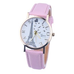 Wholesale Eiffel Tower Watch Quartz - 2016 Paris Eiffel Tower Watch With Gold Dial Fashion Lovers 3 Color Leather Strap Students Casual Wristwatches Gifts
