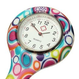 Wholesale Mix Nurses Watches - 2016 hot Prints Colorful Pocket Nurse Watch Silicone Band FOB Watches 12 patterns Mixed fast ship cheap price