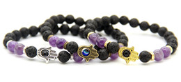 Wholesale Strand Link - New Arrival 8mm Natural Amethyst & Lava Rock Stone Beads Protection Hamsa Bracelets, Nice Gifts for men and women