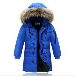 Wholesale Children S Fur Coats - New Winter Baby Boys Girls Down Coats Real Fur Collars Warm Thick Kids Jackets Children Outerwear Outdoor Windproof Parkas