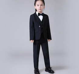 Wholesale Groom Girl Suit - Boys' Attire Groom Tuxedos lovely Boys' flower girl dress boy wedding suit High quality custom formal occasions(jacket+pants+vest)