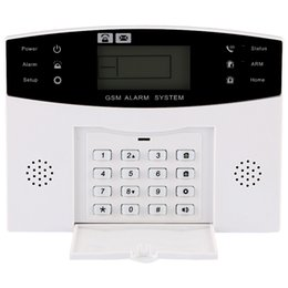 Wholesale Gsm Home Intruder Alarm System - GSM Home Security GSM Alarm System Alarm Host with LCD Call for Intruder Burglar 4 Wired And 99 Wireless Defense Zones
