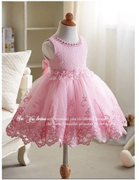 Wholesale Violet Name - Retail 2017 girls dress names with pictures real sample Pink flower Kids clothing Princess Violet Lace girls party dresses