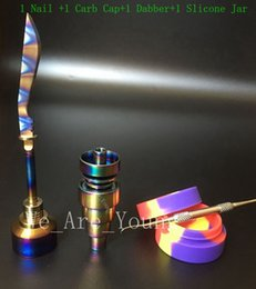 Wholesale Nail Rainbow - Bong Tool Set Anodized Colorful Domeless Gr2 Titanium Nail Rainbow Carb Cap Dabber Slicone Jar for Glass Water Pipes