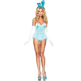 Wholesale Strapless Bunny Costume - Wholesale-2016 New Design Strapless Romper Hot Sexy Hollowen Woman Bunny Costume Carnival Rabbit Costume with Blue and Black L15236-2