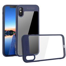 Caixa de telefone celular transparente transparente on-line-Para o telefone x 8 7 plus clear tpu + pc material duplo claro casos de telefone celular capa de proteção de acrílico rígido macio para phone8 plástico